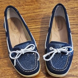 Sperry boat shoes with blue rhinestones